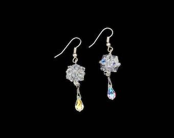 Swarovski crystal cube and Swarovski crystal teardrop earrings