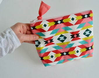 Aztec Pouch- Make up Pouch - Zipper Pouch - Gift for Teen Girls - Cosmetic Bag - Toiletry Bag - Pink Aqua Pouch - Gift for Girls - Pouch