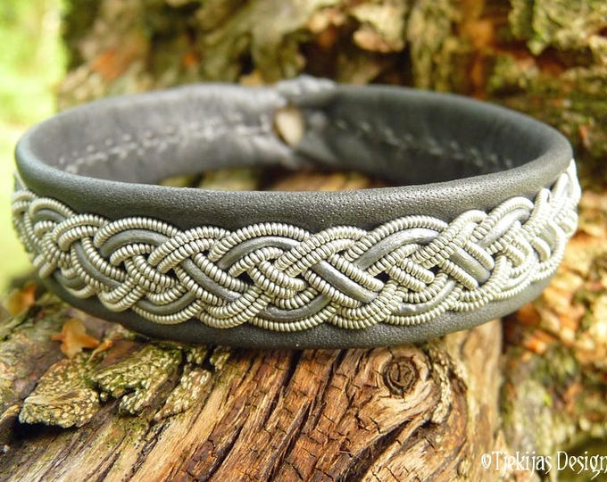 Sami Bracelet NIFLHEIM Nordic Viking Cuff Bracelet in silksoft Gray Reindeer Leather with Spun Pewter Braid - Custom Handcrafted Unisex Cuff