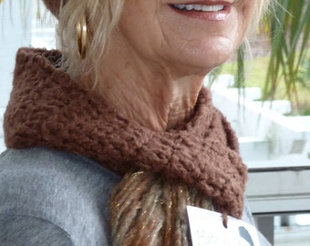 Brown winter hat and scarf set, original handcrafted crochet hat and scarf, unique women's winter fashions, Bohemian winter accessories
