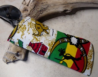 Sunglasses Case - Eyeglass Case - Rasta Fabric Eyewear Case - Case for Glasses - Case for Sunglasses - Gift under 10