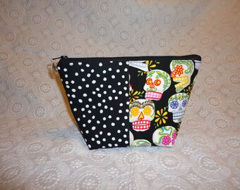 Day of the Dead Polka Dot Makeup Bag