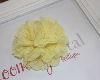 Yellow Lace Chiffon Flower Clip