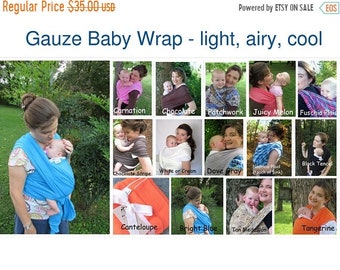 SALE Gauze Baby Wrap, Baby Carrier, Baby Sling, Summer Wrap, Newborn Wrap, baby shower gift, Cool wrap, Non stretchy wrap, Gauze Wrap, DVD