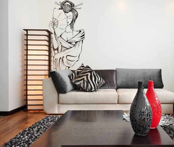 Japanese Woman Wall Decal, Artistic portrait, Woman, Japan, Interior design, Sticker , wall decor, Geisha, Samurai, Motivational, Mural