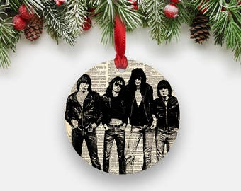 RAMONES Punk Rock Christmas Ornament, Round Aluminum Circle Holiday Tree Ornament, Ramones Art Print Rocker Hipster Stocking Stuffer Gifts