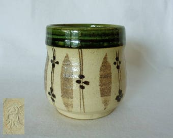 1391:Yunomi Tea cup,Oribe-ware Yunomi Tea cup,Fine Japanese Oribe-yaki Artistic pottery (Old style) Yunomi Tea cup,marked,hand made in Japan