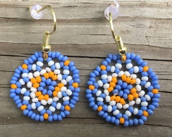 Soft Blue and Orange Floral Circles Earring/ Huichol inspired