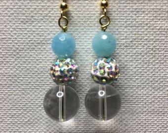 Handmade Aquamarine Swarovski  Crystals Clear Quartz Gold Plated Findings