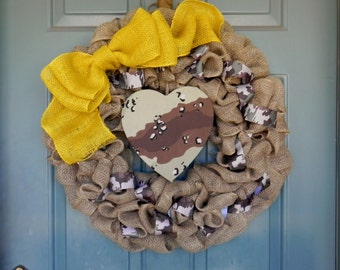 Burlap Wreath with Camo Accents and Yellow Bow - Deployed Soldier - Army Wreath - Marines Wreath - Navy Wreath - Air Force Wreath