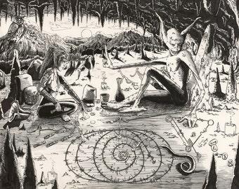 "Pen & Ink Fantasy Drawing Print Titled ""Dusk Reading"""