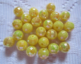 25  Bright Sunny Yellow AB Faceted Round Acrylic Beads  8mm