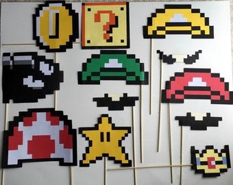 12 pc 8-bit Photo Booth Props - Mario
