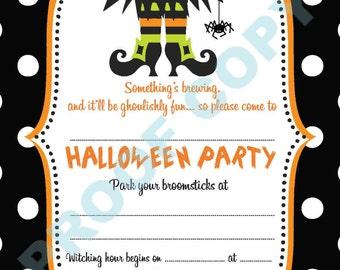 HALLOWEEN POLKA DOT invitations kids party invites