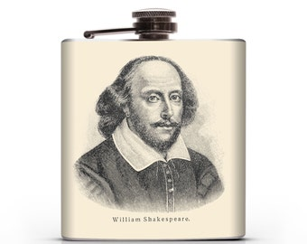 Shakespeare Wooden Etch - 6oz Hip Flask