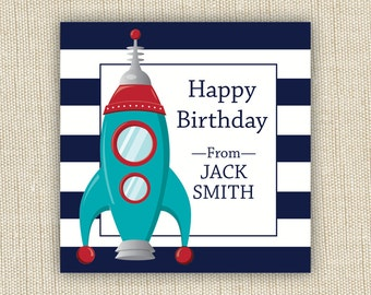 personalized gift label stickers. rocket. Set of 25