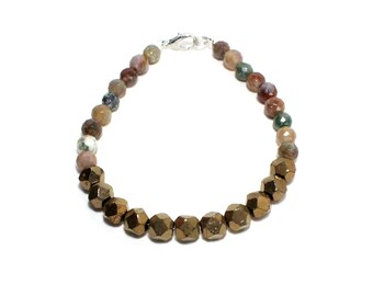 Faceted agate and pyrite stone beaded stacking layering bracelet