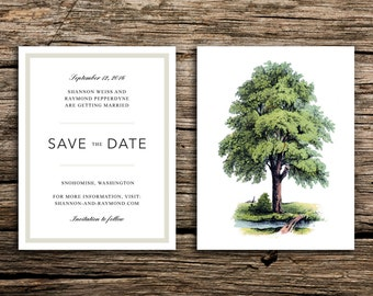 Modern Tree Save the Date // Oak Trees Invitation Wedding Under the Trees Woodland Woodsy Minimal Green Brown Botanical Save the Dates
