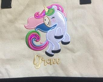 Personalized Unicorn Beach Tote Bag Unicorn Gift Bag