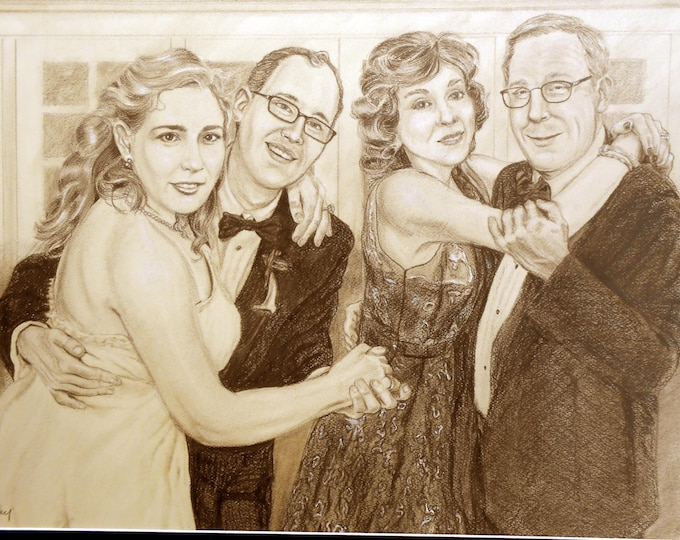 Custom Portrait Drawing, Personalized from your photos, Gift idea for Anniversary, Birthday, Christmas