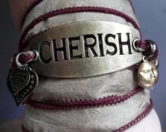 Cherish....Silk Wrap Bracelet