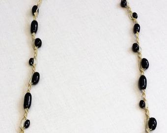 Black Beaded Macrame Necklace