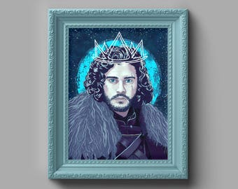 """GAME of THRONES Jon Snow """"King in the North"""" Art Print - Painting, Home Decor, Wall Art, Gift for Him, Gift for Her, Game of Thrones Gift"""