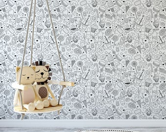 Fun sweets Color Me removable wallpaper / cute self adhesive wallpaper / interactive doodle temporary wallpaper D128-27