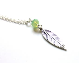 Feather Necklace, Silver Feather Necklace, Boho Feather Necklace, Long Feather Necklace, Feather Jewelry, Minimalist Jewelry, Gift for Her