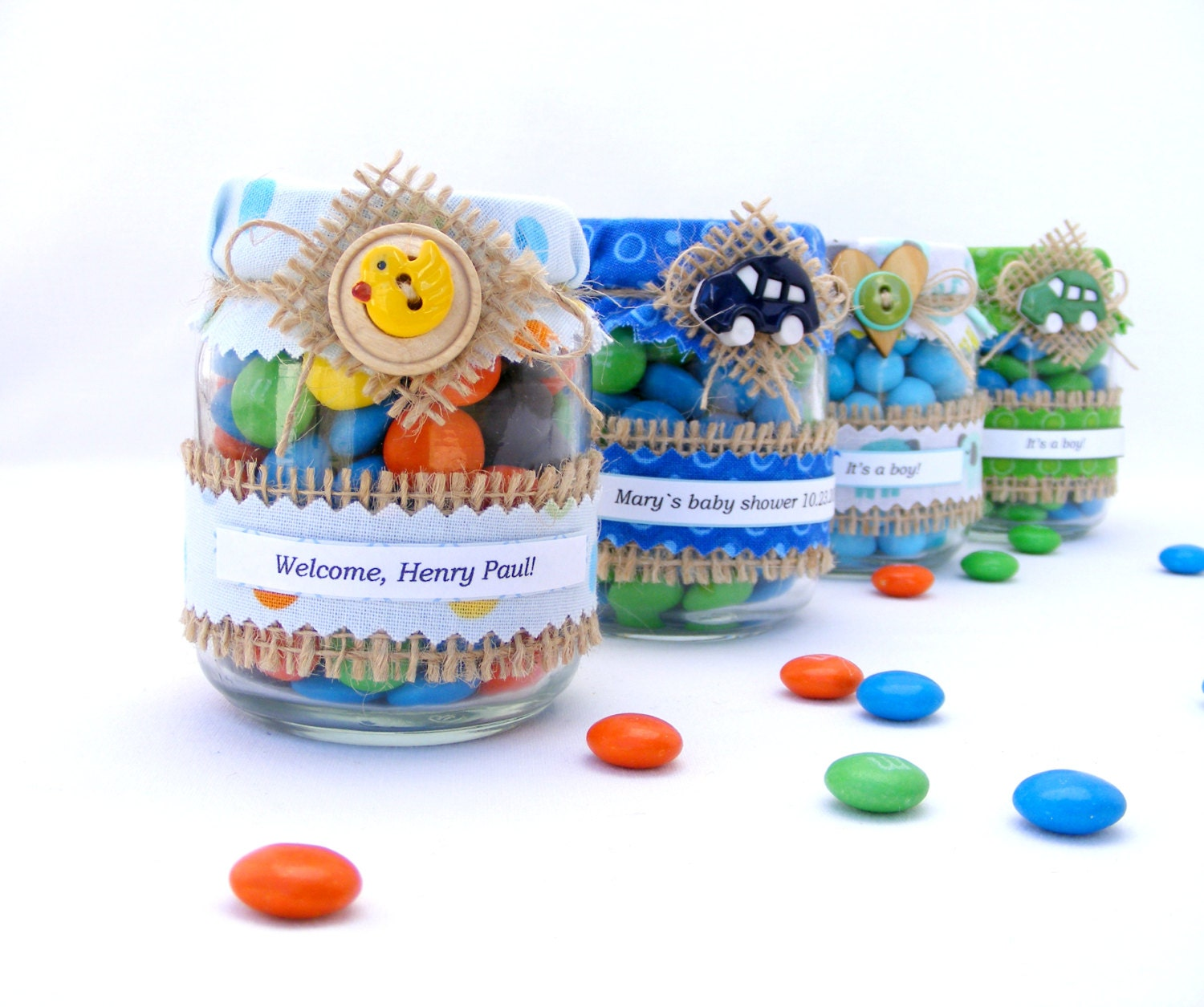 Baby shower favors in jar Rustic baby shower Edible birthday