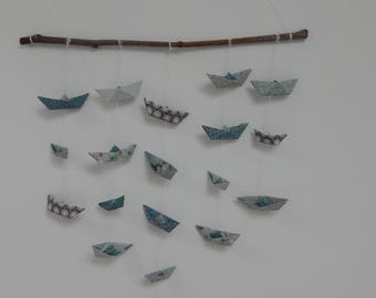 Origami boats mobile
