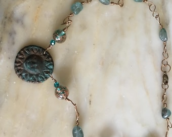 Ancient Sun Bronze Necklace With Blue Patina
