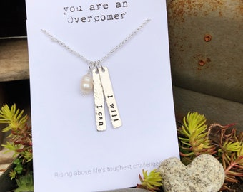 """I can and I will necklace - inspirational word jewelry - LONG 32"""" chain - Love Squared Designs"""