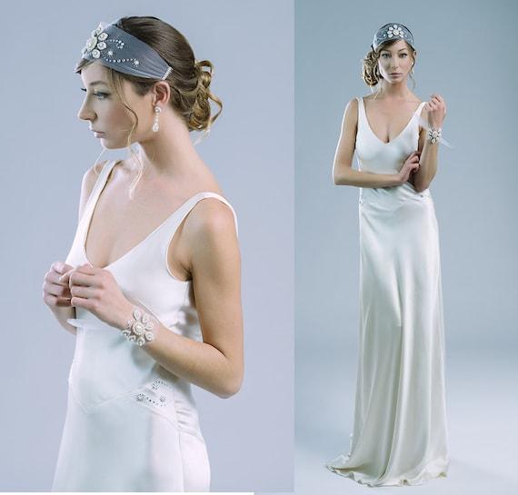 Nocturne bias cut pure silk gown wedding dress 20\'s style