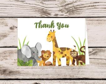 Safari Thank You Card, INSTANT DOWNLOAD Printable File, Safari Animal Baby Shower Thank You Card, Zoo Animal Thank You, Jungle Birthday Card