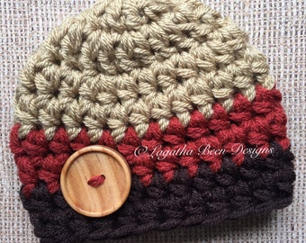 Fall colored chunky baby hat - newborn size - made to order