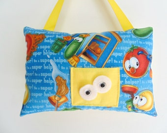 Personalized Tooth Fairy Pillow , Veggie Tales Tooth Fairy Pillow ,  Veggie Tales Room Decor , Childrens Pillow , Colorful Pocket Pillow