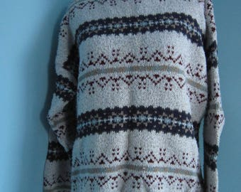 Tan And Nvy Blue Muti Design Ugly Christmas Sweater