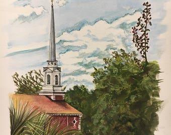 Custom Church Steeple Watercolor Painting