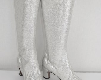 Rare Vintage 1960's Beth Herbert Levine SILVER LAME Lurex Metallic Stretch Mod Space Age GoGo Tall Boots Hippie Couture Size 7