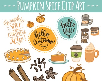 CLIP ART: Pumpkin Spice Pack // Autumn Fall Clipart // Hand Drawn Pumpkins & Spices // Photoshop Brush Vector // Commercial Use