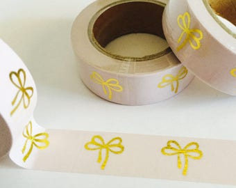 Pink and Gold Foil Bows Washi Tape