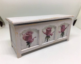 Handmade miniature dolls house furniture. Shabby chic style blanket box with roses
