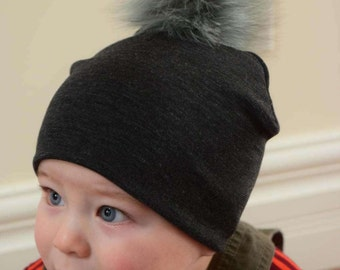 Detachable fur Pompom baby Hat