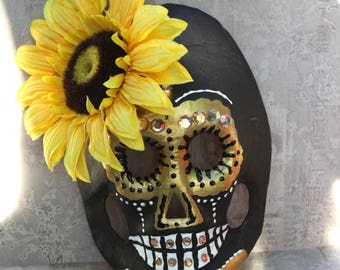Handmade Day Of The Dead Mask, Santa Muerte Mask, Skull Mask For Dia De Los Muertos, Maman Brigitte, Baron Samedi, Skull Altar Piece