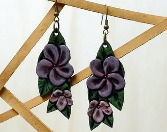 Floral Hand-Tooled Leather Earrings