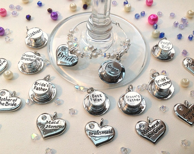 Wineglass charms, top table, wedding, Bride, groom, usher, name, table decoration, place settings, bride top hats hearts, bead crystal,