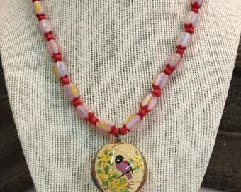 Glass Bead Necklace Hand Painted on Inside