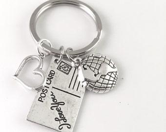 With Love Postcard Keychain, Best Friend, keychain, Heart World Travel, Postcard charm, travel post, World Traveler, Travel Keychain