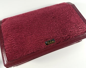 Vintage Textured Velvet and Leather Ox Blood Red Clutch, NWT, Violetta, Original Purse Marie